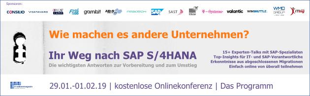 SAP S/4HANA Onlinekonferenz-2019-Programm